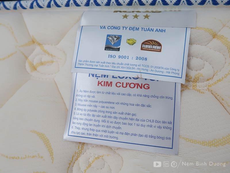 Nệm lò xo túi Kim Cương Acness - Nệm Bình Dương